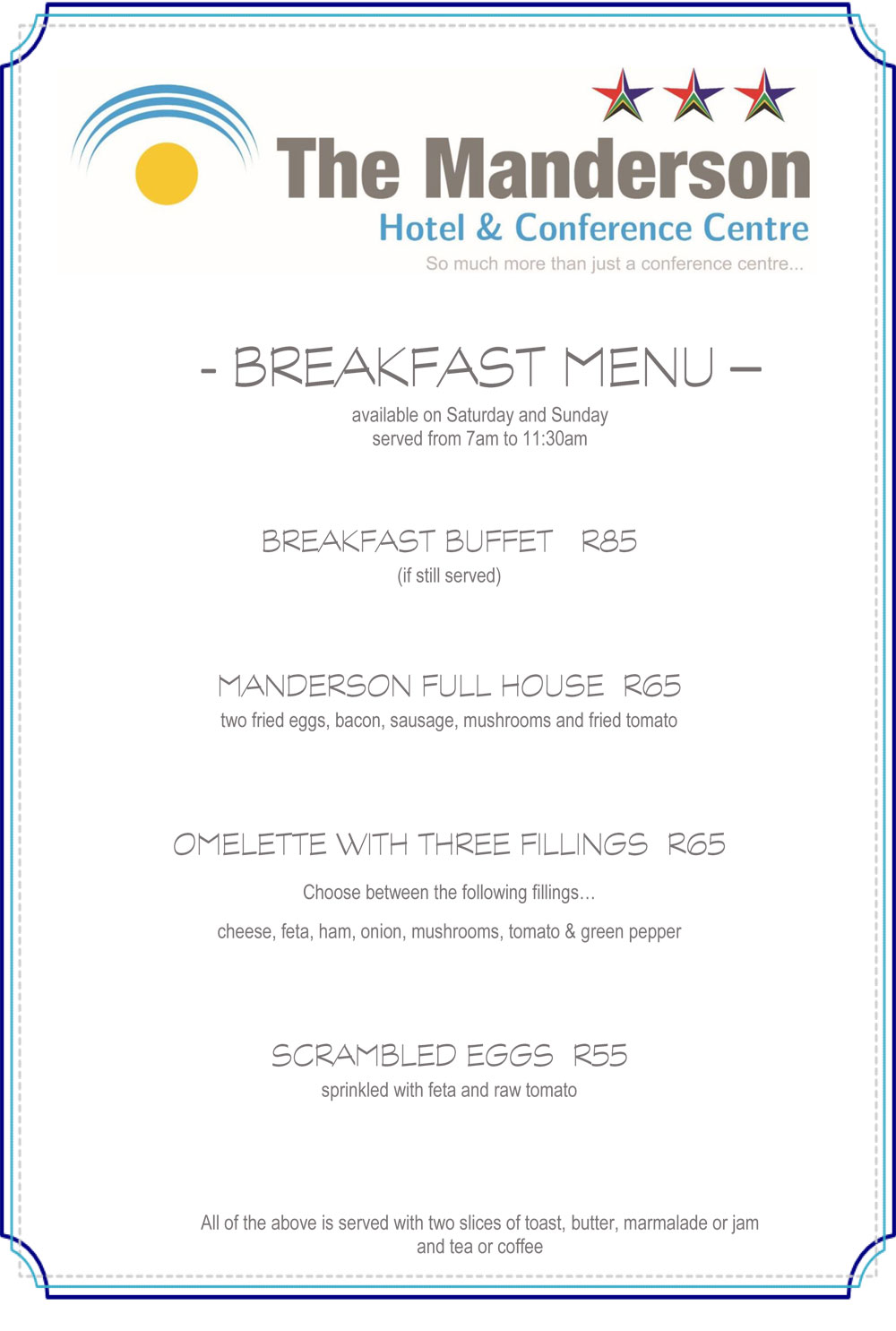 Breakfast menu external manderson hotel restaurant