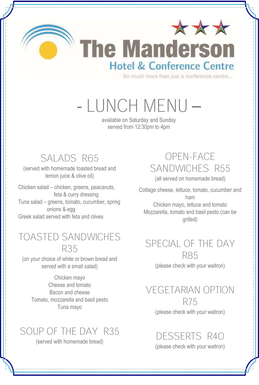 Lunch menu external manderson hotel restaurant