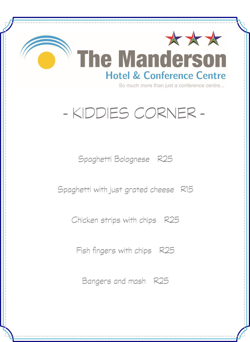 kiddies menu manderson hotel restaurant